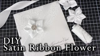 How to make a satin ribbon flower | Easy DIY flower for wedding invitations | DIY invitation