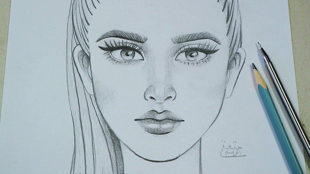 تعلم رسم وجه من الامام خطوة بخطوة | تعليم كيفية الرسم بقلم الرصاص للمبتدئين