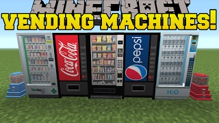 Minecraft: VENDING MACHINES!!! (COKE, PEPSI, SNACKS, PHARMACY & MORE!!) Mod Showcase