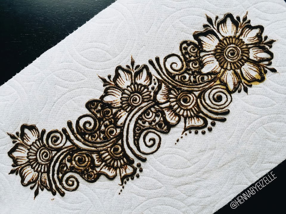 Freehand Henna Mehndi Design 3 How To Draw A Simple Flower Strip  YouTube