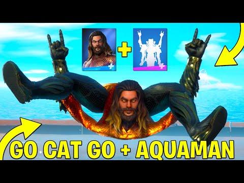 Go Cat Go Built In Emote On AQUAMAN & Popular Skins! Fortnite Battle Royale Chapter 2 Season 3