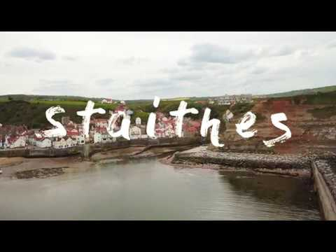 Aerial film of Staithes in North Yorkshire