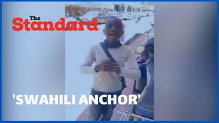 Young boy presents news by imitating a Swahili news anchor