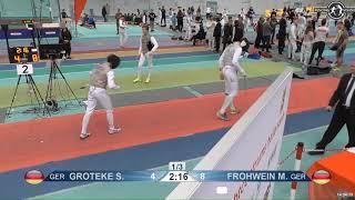 2018 1234 T128 M F Individual Halle GER European Cadet Circuit RED GROTEKE GER vs FROHWEIN GER