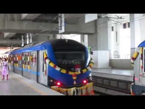 Chennai Metro's new Airport-Little Mount trains departing from Alandur Metro station!