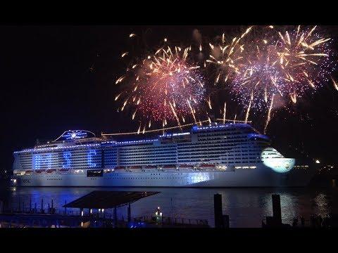 4k Spectacular Naming Ceremony Amazing Msc Grandiosa With Firework At Hamburg