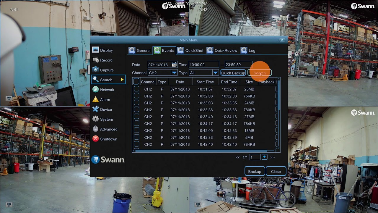 swann dvr security system how to export footage
