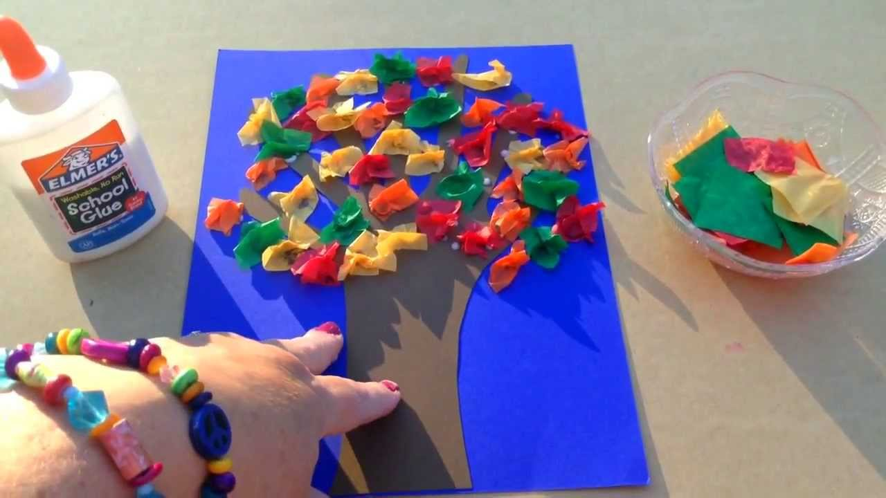 paper arts and craft ideas tissue paper scrunch fall tree 7000