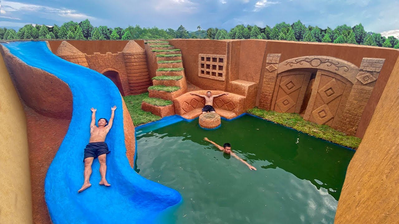250 Days Built Underground Temple Tunnel House and Water Slide Swimming Pool
