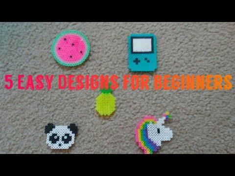 5 Super Easy Designs for Beginners!   Perler Beads - YouTube