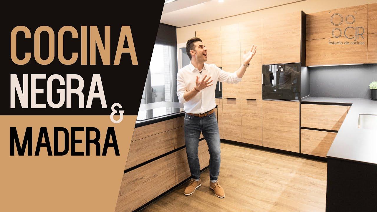 Cocina Negra Y Encimera En Madera Cocinas Modernas Cjr Santos