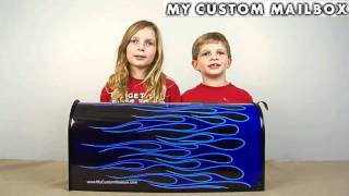 Custom Blue Flame Design Mailbox Www.mycustommailbox.com