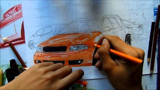DRAWING CAR |Desenhando Carro - Carros Pro BGT6 Audi RS4 Avant L.A Design Crew