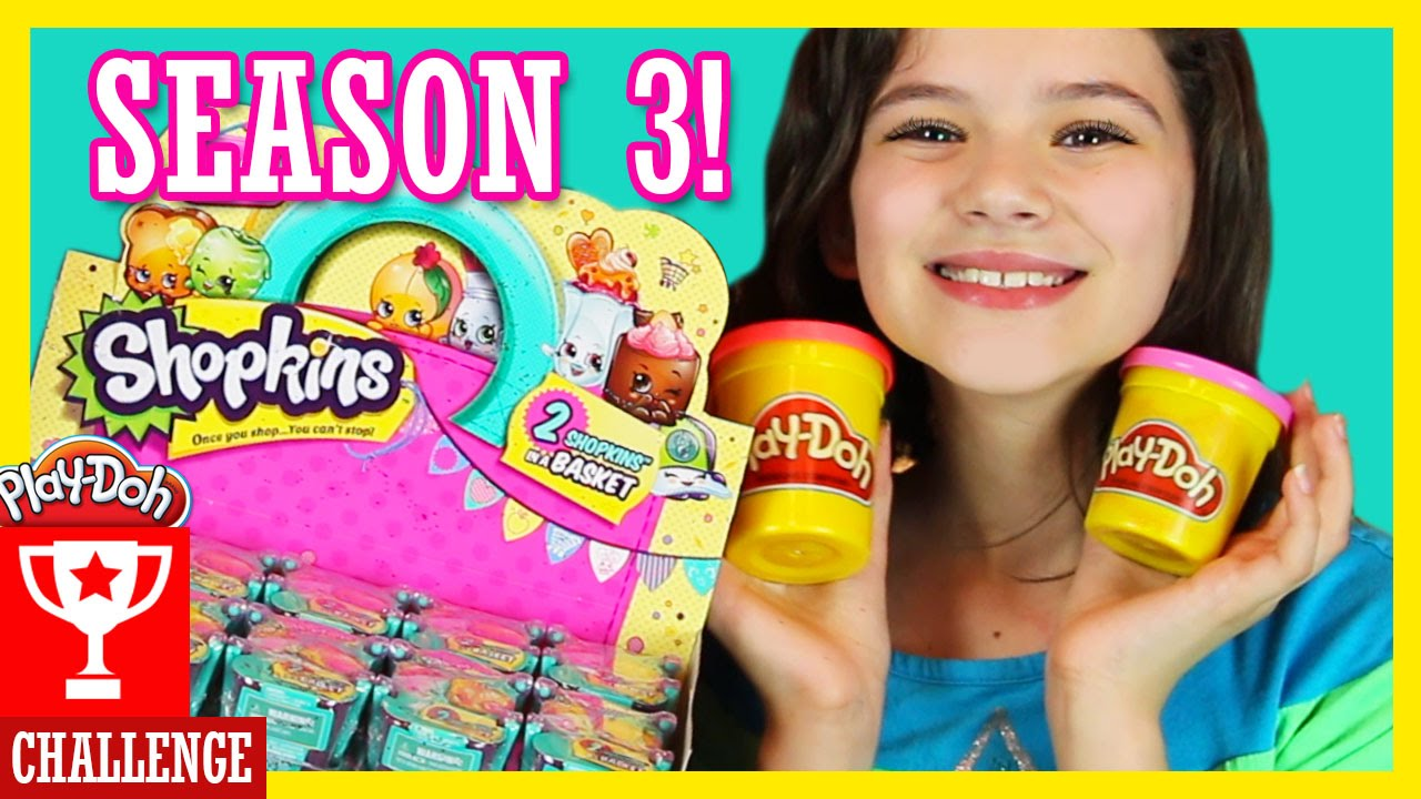 Play doh challenge with shopkins season 3 blind basket opening