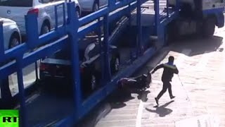 CCTV footage: Moto rider with child narrowly escapes death under truck wheels in China
