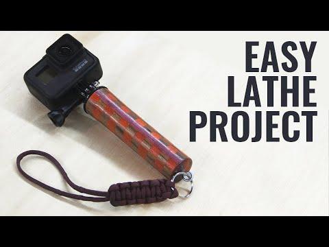 DIY Checkered Lathe-Turned GoPro Handle w/ Paracord Lanyard