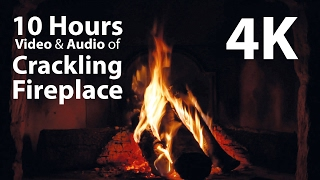 Video 4K UHD 10 hours - Fireplace & Crackling Audio - relaxing, warm, calming download MP3, 3GP, MP4, WEBM, AVI, FLV Januari 2018