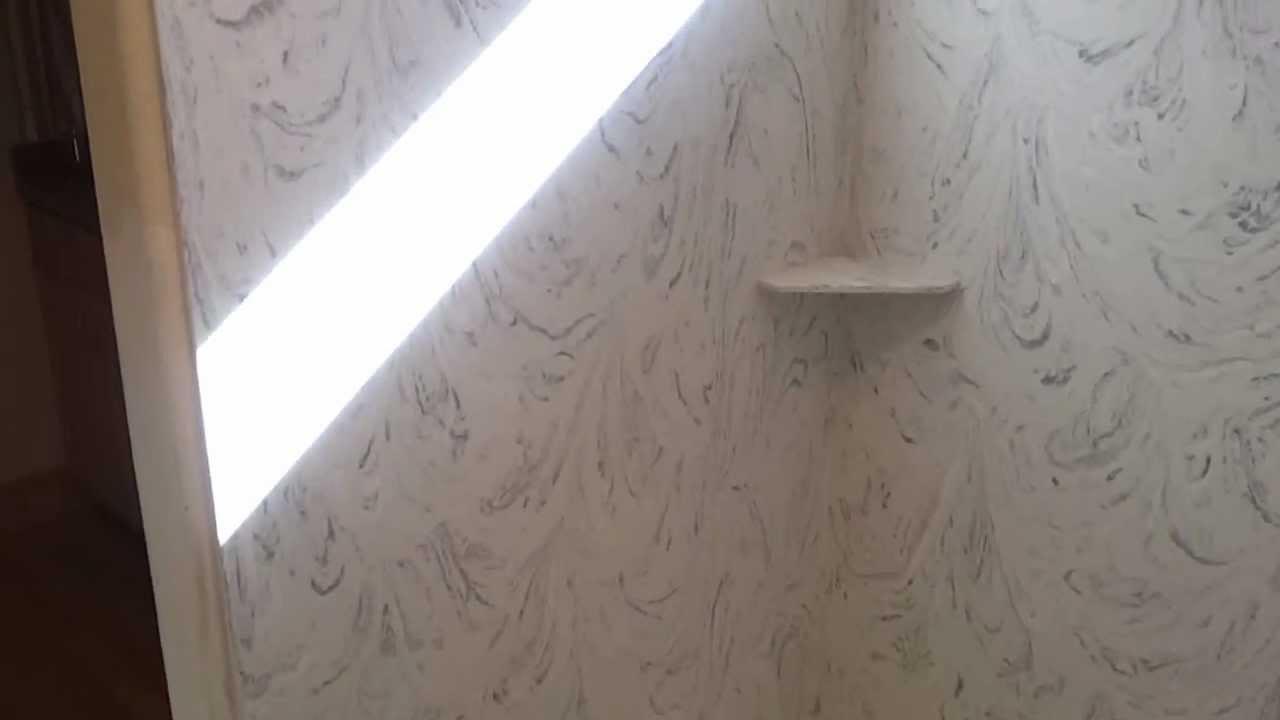 Corian Arrowroot Custom Shower Drain And Rainfall Shower