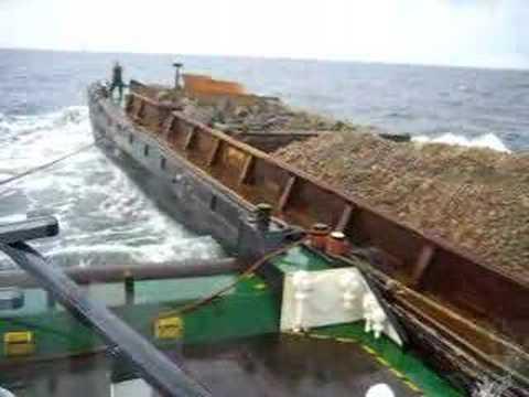 Moving stone barge