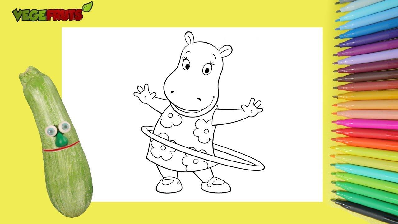 Aprenda A Desenhar E Colorir Hipopotamo Com Os Vegefruts