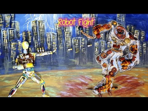 Robot Fight - 3D Acrylic Painting on Canvas
