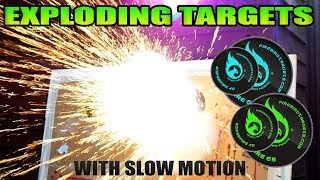 EXPLODING AIR RIFLE TARGETS!! Annoying The Neighbours! With Slow Motion