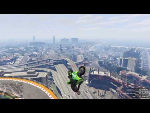 GTA5 ONLINE MOTERBIKE LAND ON CRANE?!?!