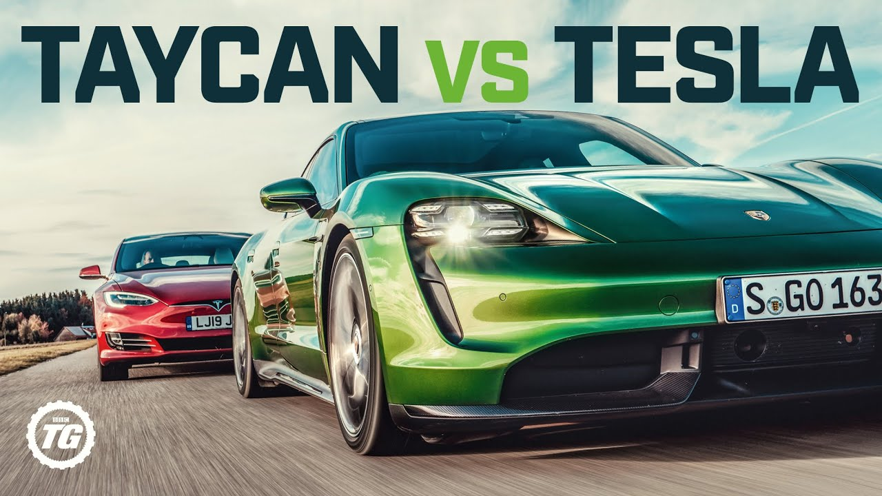Porsche Taycan Turbo S vs Tesla Model S: DRAG RACE, FULL REVIEW AND VMAX | Top Gear