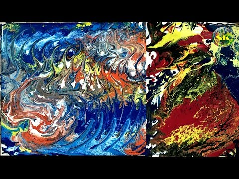 Fluid painting on canvas board # Abstract painting through fluid technique in acrylic paints
