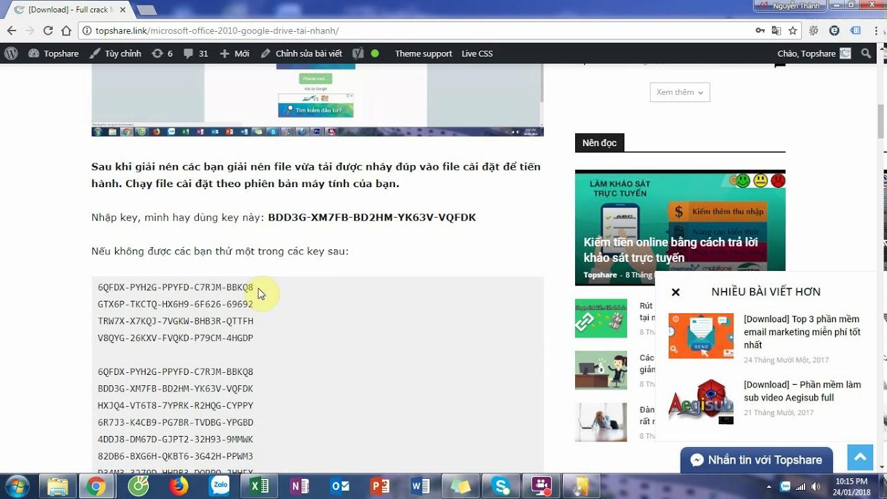 Hướng dẫn cài Microsoft Office 2010 Google Drive – Full Crack