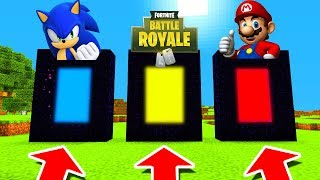 Minecraft PE  DO NOT CHOOSE THE WRONG PORTAL Sonic Fortnite And Mario