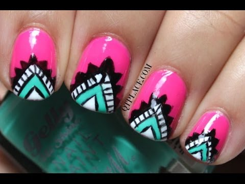 tribal aztec nail art