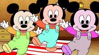 Five Little Mickey Mouse Jumping on The Bed at ClubHouse | Nursery Rhymes for Children