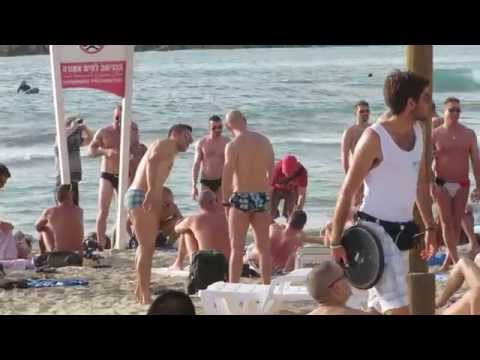 The gay beach of Tel Aviv, Israel, one of the most colorful places in Israel