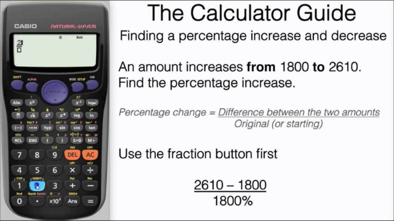 How To Find A Percentage Increase & Decrease On Calculator - Formula -  Casio fx-7GT fx-7GT PLUS