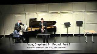 Saxophone Stephen Page performs Gotkovsky Variation Pathetiques Mvt. VI in Dinant, Belgium