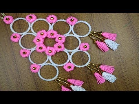 woolen-craft-idea-||-how-to-make-beautiful-woolen-door/wall-hanging-with-bangles---best-reuse-ideas