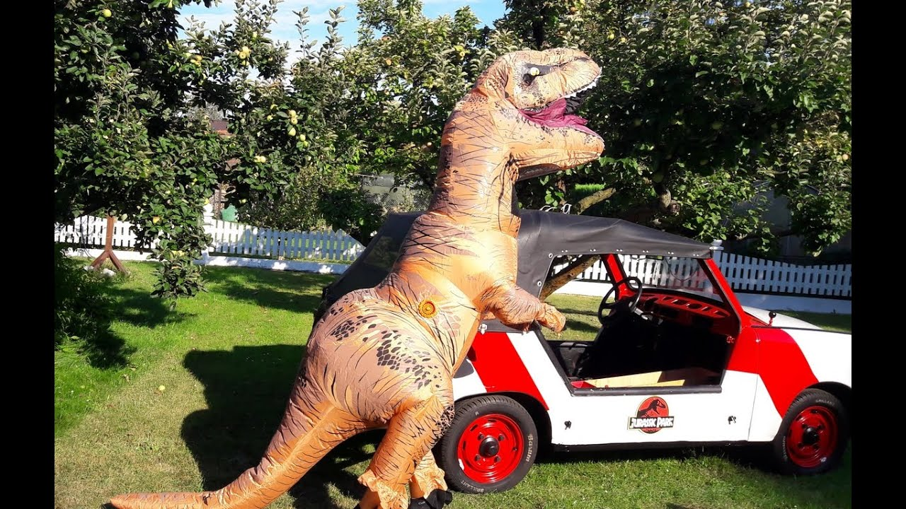 unboxing jurassic world inflatable funny t rex halloween costume jurassic park jeep mieten youtube