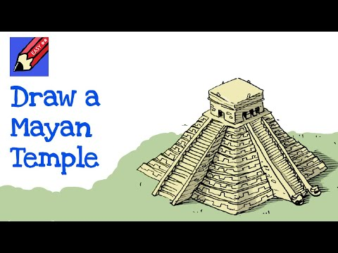 How to draw an Mayan Pyramid Temple (Chichen Itza) Real Easy for kids and beginners