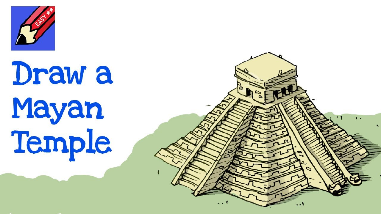 How To Draw An Mayan Pyramid Temple Chichen Itza Real Easy For