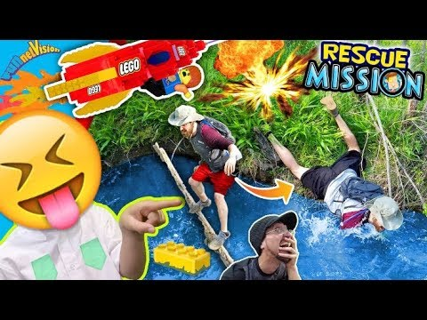 He Fell in da Swamp! LEGO ROCKET RESCUE MISSION! TRY NOT TO LAUGH! FUNnel Vision Kids Adventure Vlog