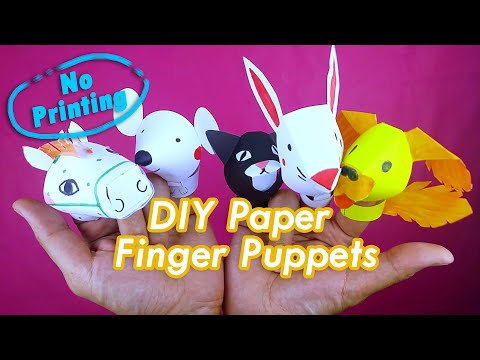 5 New Finger Puppets of paper DIY (No Printing)