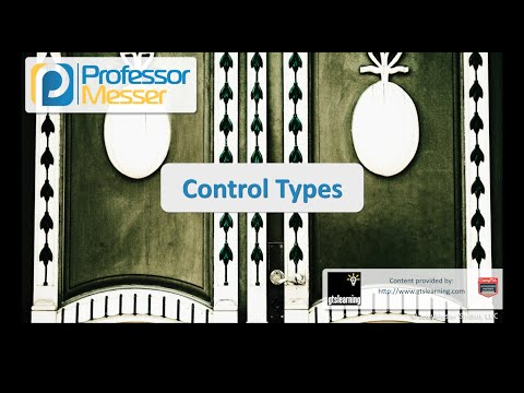 Control Types - CompTIA Security+ SY0-401: 2.1