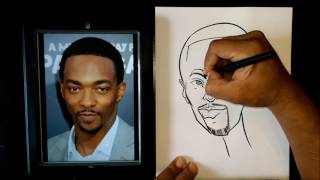 How To Draw A Quick Caricature Falcon Anthony Mackie Captain America Avengers