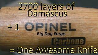 Damascus 1000 Challenge Part #2 OPINEL CARBONE Damascus Blade Mod.