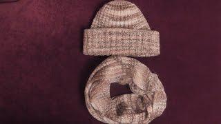 Шапка и шарф-снуд из меланжевой пряжи спицами. Видео урок.