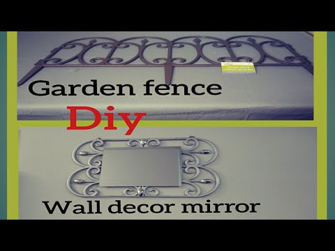 DIY DOLLAR TREE WALL DECOR MIRROR FROM GARDEN FENCE/GLAM FAUX METAL WALL ART/EASY UNDER $5 HOME ART