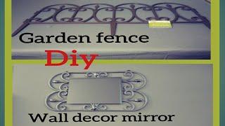 DIY DOLLAR TREE WALL DECOR MIRROR FROM GARDEN FENCE/GLAM FAUX METAL WALL ART/EASY UNDER $5 HOME ART