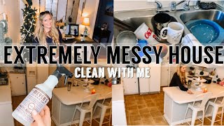 MESSY HOUSE CLEAN WITH ME | EXTREME CLEANING MOTIVATION | UNDECORATE & CLEAN WITH ME