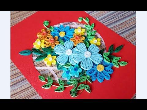 DIY Paper Quilling Flower For beginner Learning video 43 // Paper Quilling Flower Card